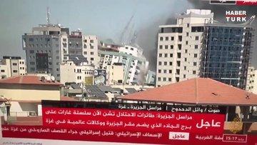 İsrail Gazze'de medya kuruluşlarının ofislerinin bulunduğu 13 katlı binayı vurdu!