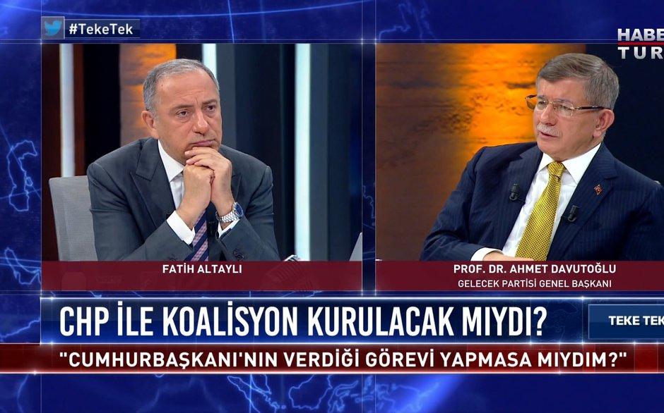 Ahmet Davutoğlu Teke Tek'te Fatih Altaylı'nın sorularını yanıtlıyor   Teke Tek - 31 Mayıs 2021