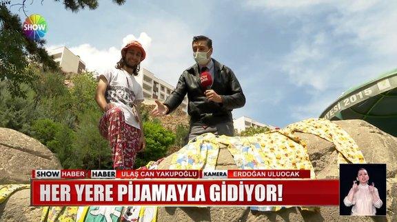 Pijamayla dünyayı geziyor!