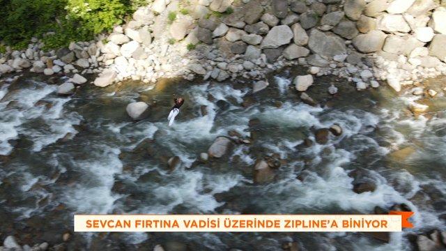 Sevcan Orhan'ın zipline denemesi!