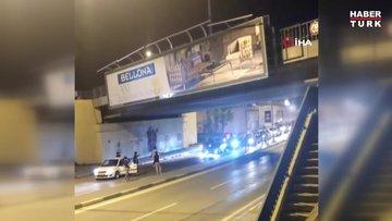 Bursa'da yol kapatıp, silahlı meşaleli asker uğurlaması yaptılar