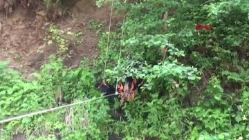Uçurumda mahsur kalan inekleri itfaiye ekipleri kurtardı