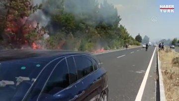 Yerleşim yerlerine yakın alanda çıkan orman yangınına müdahale ediliyor