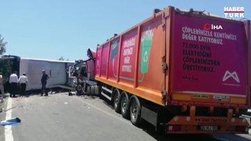 Mersin'de yolcu otobüsü ile tır çarpıştı: 2'si ağır 15 yaralı