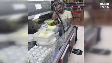 Gıda ürünün bulunduğu buzdolabına girip, videosunu paylaştı