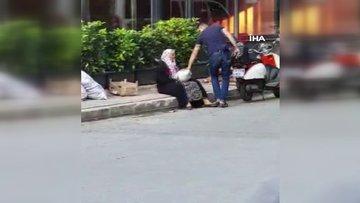 Sokak ortasında annesini darp etti! O anlar kamerada