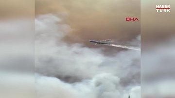 Manavgat'taki büyük orman yangınına söndürme uçağı böyle müdahale etti