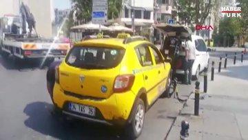 Taksimetre açmadan turistle pazarlık yapan taksiciye ceza; taksi trafikten men edildi