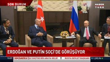 Cumhurbaşkanı Erdoğan'ın Rusya Devlet Başkanı Putin ile görüşüyor